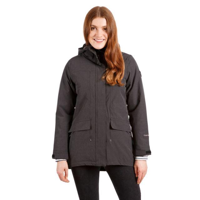 Trespass Womens Waterproof Parka Jacket Fleece Lined Reveal Black