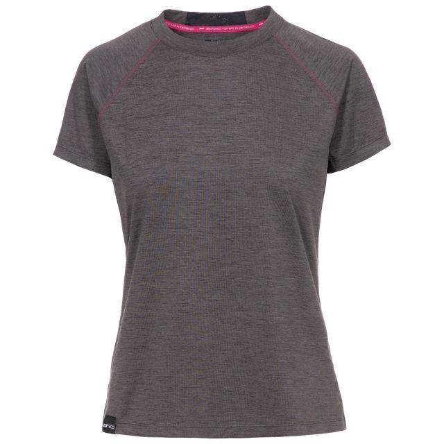 Rhea Women's DLX Eco-Friendly T-Shirt in Grey, Front view on mannequin