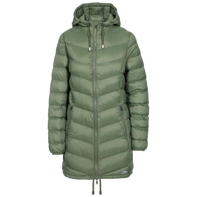 Rianna Women's Padded Casual Jacket in Green, Front view on mannequin