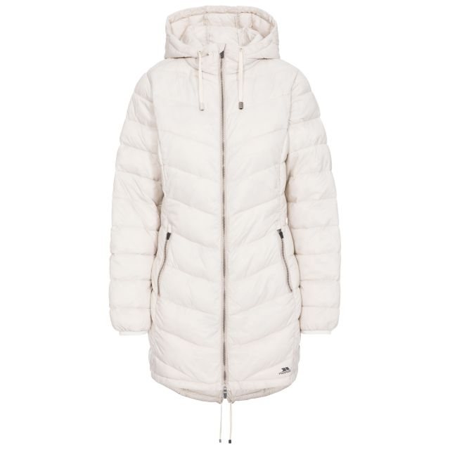 Rianna Women's Padded Casual Jacket in Tan, Front view on mannequin