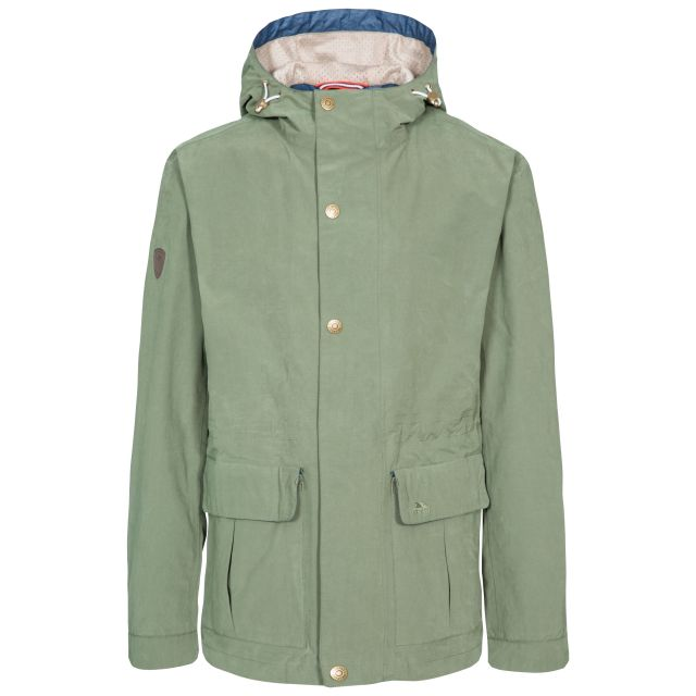 Riverbank Men's Casual Waterproof Jacket in Green, Front view on mannequin