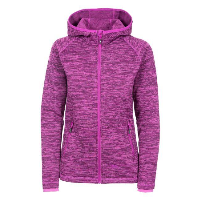 Riverstone Women's Full Zip Fleece Hoodie in Purple, Front view on mannequin