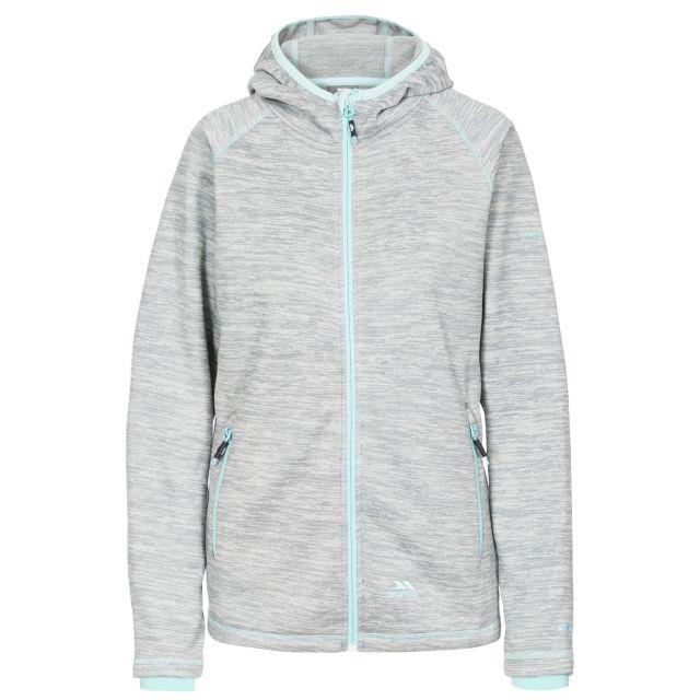 Riverstone Women's Full Zip Fleece Hoodie in Light Grey, Front view on mannequin