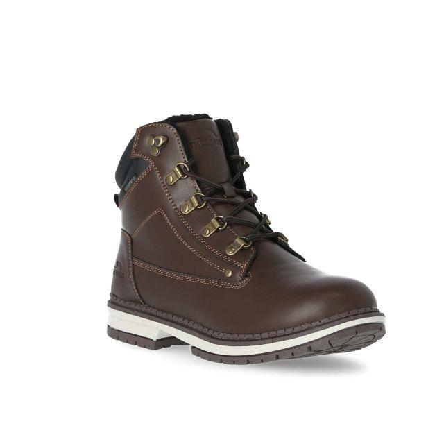 Robsen Men's Waterproof Casual Boots in Brown, Angled view of footwear