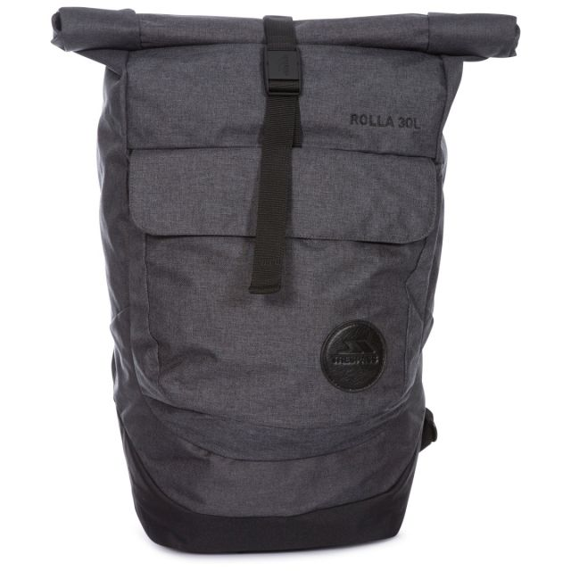Rolla 30L Rolltop Laptop Backpack in Grey, Front view