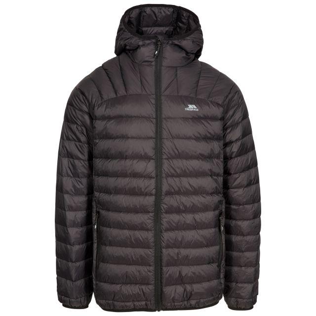 Romano Men's Down Packaway Jacket in Black, Front view on mannequin