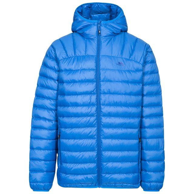 Romano Men's Down Packaway Jacket in Blue, Front view on mannequin