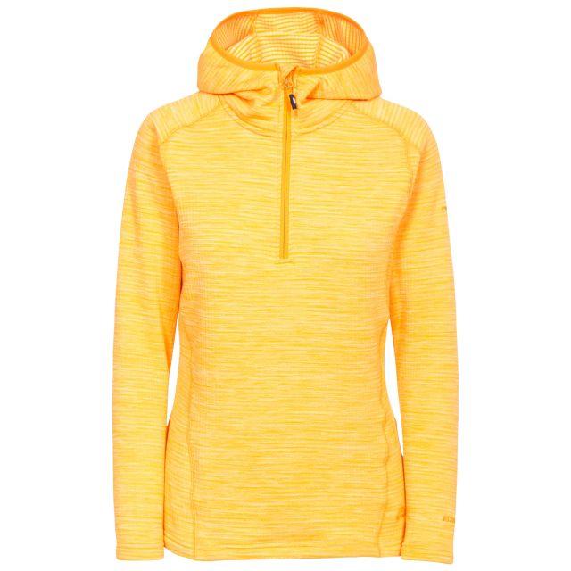Romina Women's Hooded Fleece in Orange, Front view on mannequin