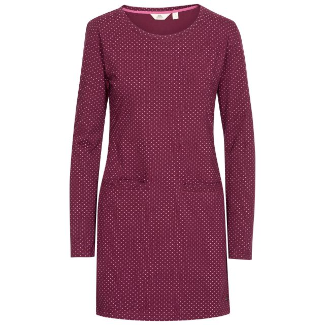 Ronnie Women's Knitted Tunic Dress in Purple, Front view on mannequin