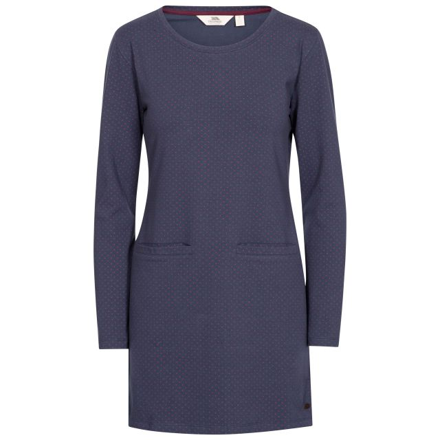 Ronnie Women's Knitted Tunic Dress in Navy, Front view on mannequin