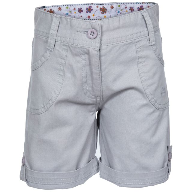Ronya Kids' Casual Cotton Shorts in Grey, Front view on mannequin