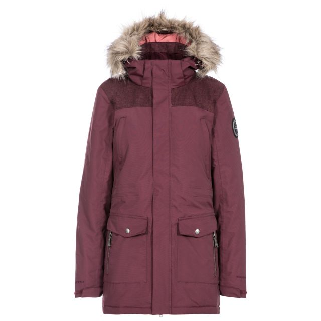 DLX Womens Waterproof Parka Jacket Rosario in Fig, Front view on mannequin