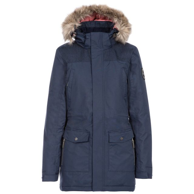 DLX Womens Waterproof Parka Jacket Rosario in Navy, Front view on mannequin