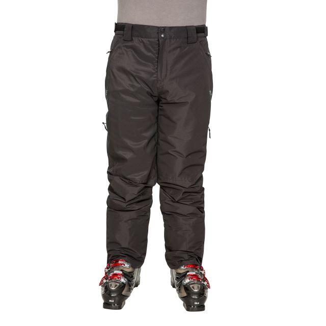 Roscrea Men's Salopettes in Black, Alternate front view on model