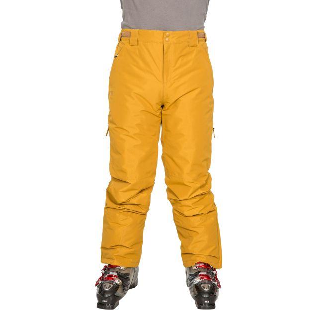 Roscrea Men's Salopettes in Yellow, Alternate front view on model