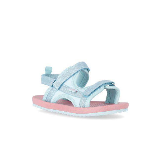 Rowan Kids' Sandals in Teal, Angled view of footwear