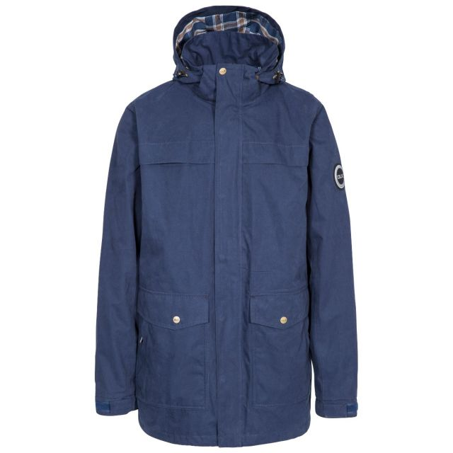 Rowland Men's DLX Casual Waterproof Jacket in Navy, Front view on mannequin
