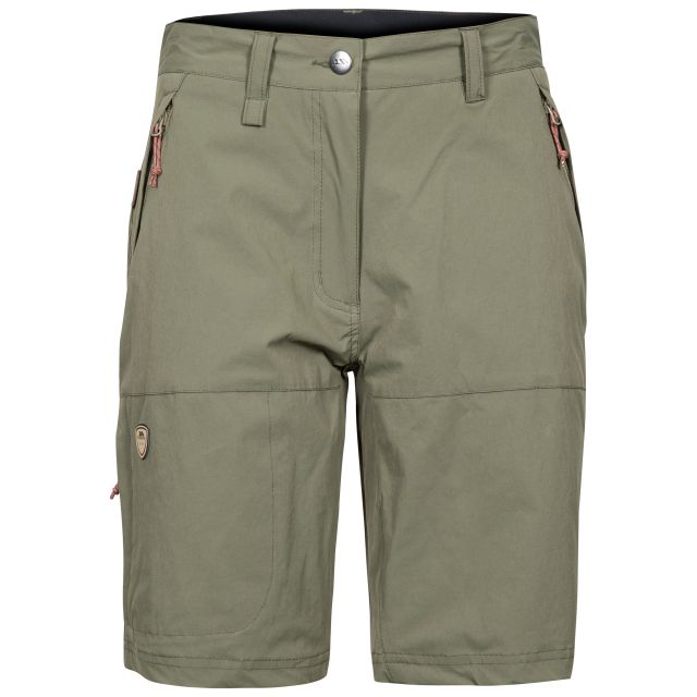 Rueful Women's Quick Dry Active Shorts in Khaki, Front view on mannequin