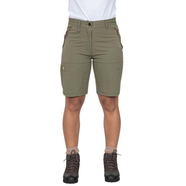 Rueful Women's Quick Dry Active Shorts in Khaki