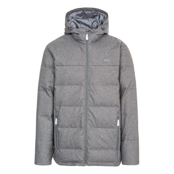 Sadler Men's Hooded Down Jacket  in Grey, Front view on mannequin