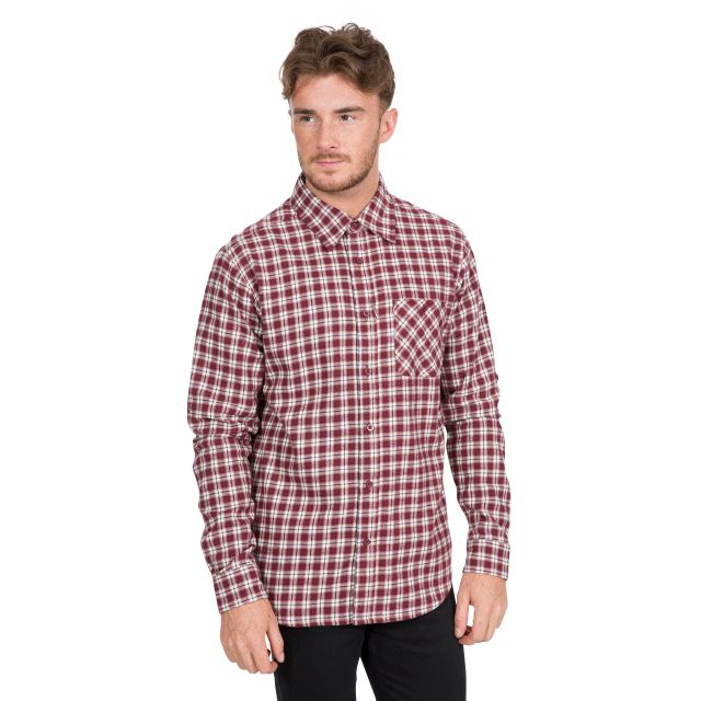 Sailfoot Men's Checked Cotton Shirt in Red