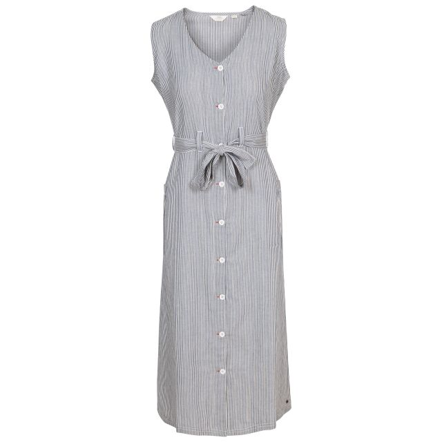 Trespass Women's Mid Length Dress Sally Navy Stripe, Front view on mannequin