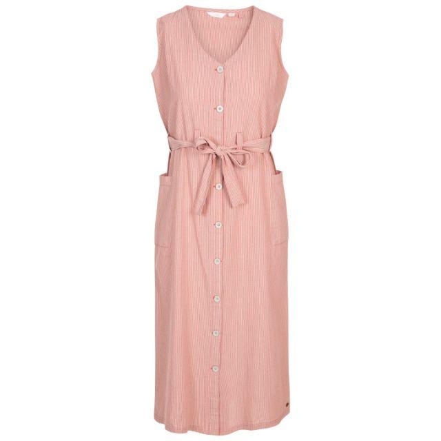 Trespass Women's Mid Length Dress Sally Rhubarb Stripe, Front view on mannequin