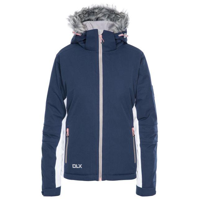 Sandrine Women's DLX Waterproof RECCO Ski Jacket in Navy, Front view on mannequin