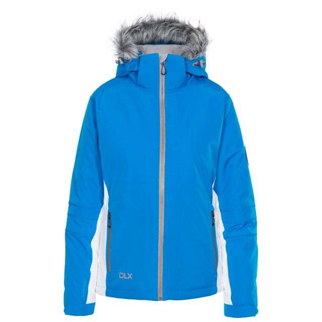 Sandrine Women's DLX Waterproof RECCO Ski Jacket in Blue, Front view on mannequin