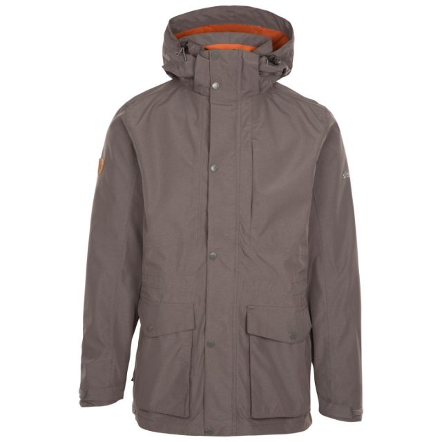 Trespass Men's Waterproof Jacket Sandy Khaki, Front view on mannequin