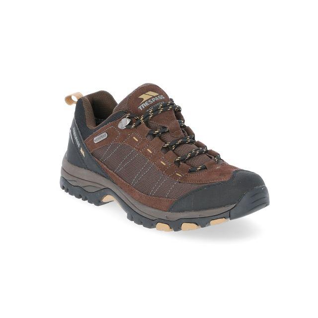Scarp Men's Walking Shoes in Brown, Angled view of footwear