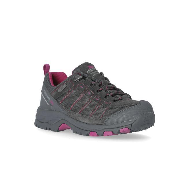 Scree Women's Walking Shoes in Grey, Angled view of footwear