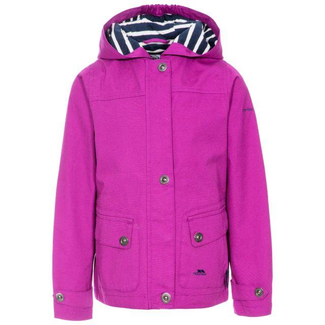Seastream Kids' Waterproof Jacket in Purple, Front view on mannequin