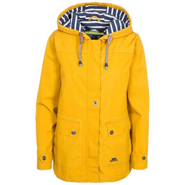 Seawater Women's Waterproof Jacket in Yellow, Front view on mannequin