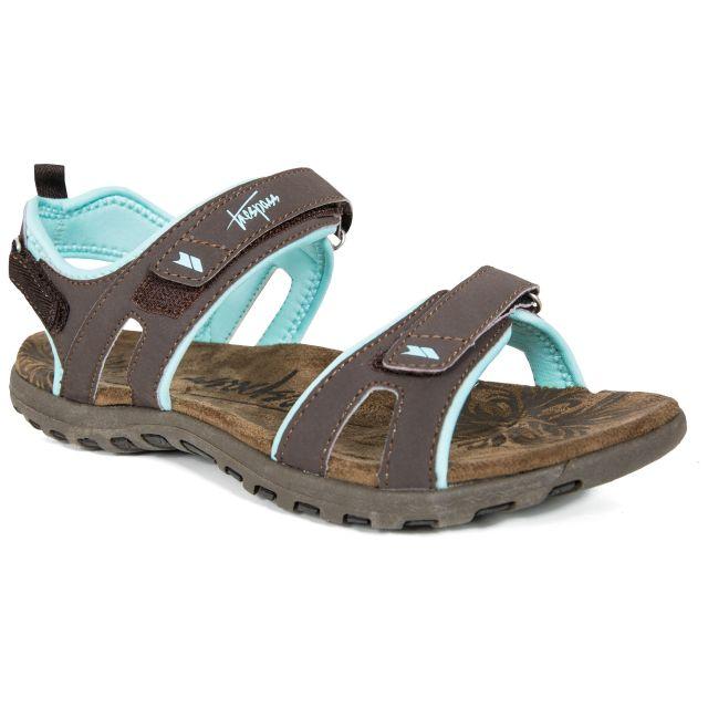 Serac Women's Walking Sandals in Brown, Angled view of footwear