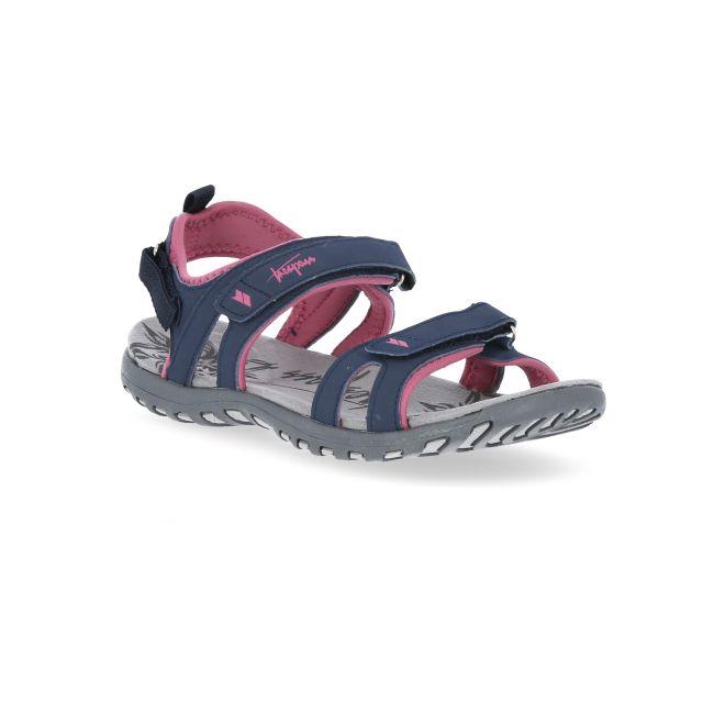 Serac Women's Walking Sandals in Navy, Angled view of footwear