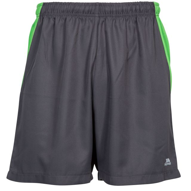 Shane Men's Active Shorts in Grey, Front view on mannequin