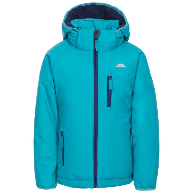 Shasta Girls' Padded Waterproof Jacket in Blue, Front view on mannequin
