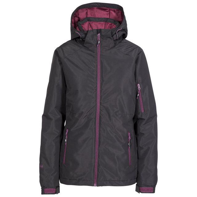 Sheelin Women's Waterproof Ski Jacket in Black, Front view on mannequin