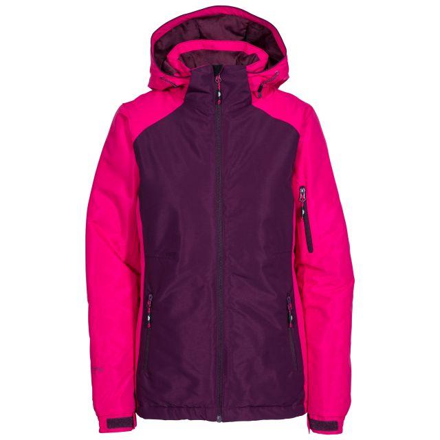 Sheelin Women's Waterproof Ski Jacket in Purple, Front view on mannequin