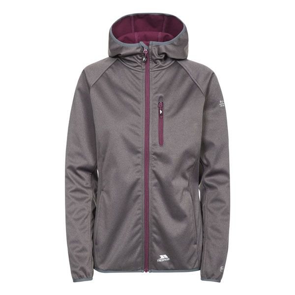 Shelly Women's Softshell Jacket in Grey, Front view on mannequin