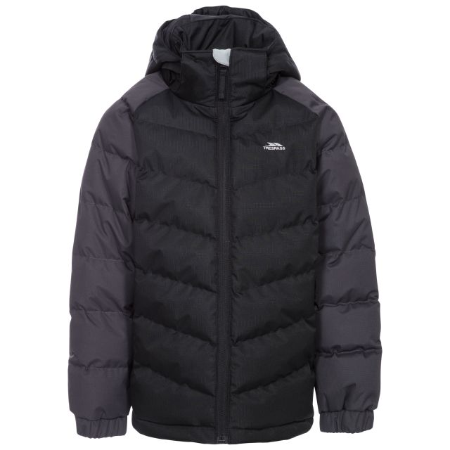 Sidespin Boys' Padded Casual Jacket in Black, Front view on mannequin