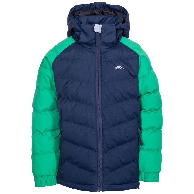 Sidespin Boys' Padded Casual Jacket in Green, Front view on mannequin
