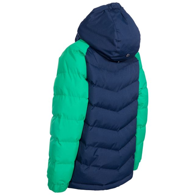 Trespass Boys Padded Casual Jacket in Green Sidespin
