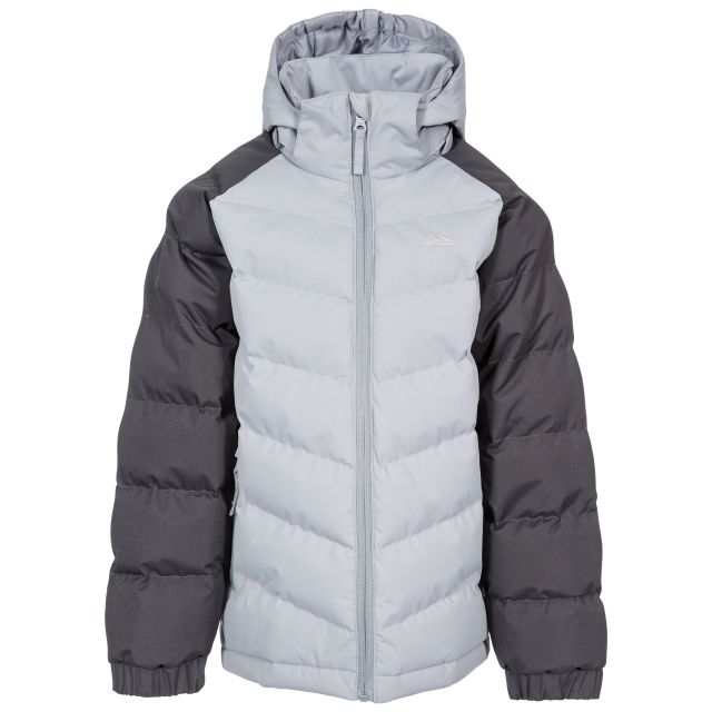 Sidespin Boys' Padded Casual Jacket in Grey, Front view on mannequin
