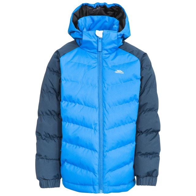 Sidespin Boys' Padded Casual Jacket in Navy, Front view on mannequin