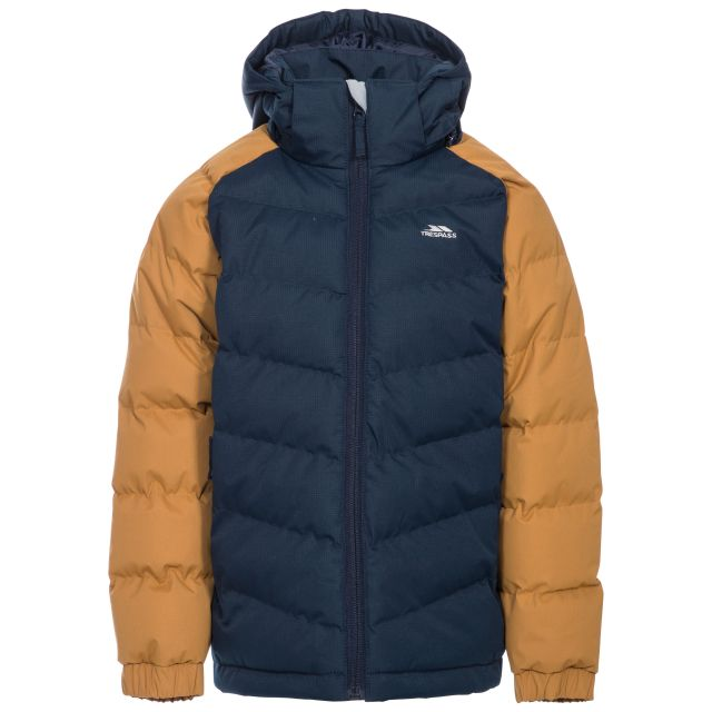 Sidespin Boys' Padded Casual Jacket in Beige, Front view on mannequin