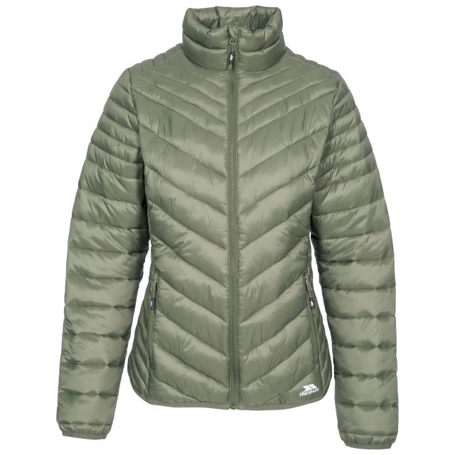 Simara Women's Padded Casual Jacket in Khaki, Front view on mannequin