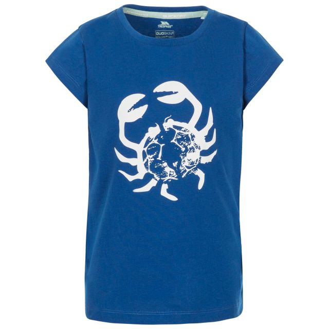 Simply Kids' Printed T-Shirt in Blue, Front view on mannequin