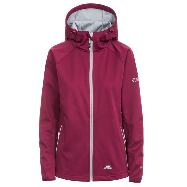Sisely Women's Hooded Softshell Jacket in Burgundy, Front view on mannequin